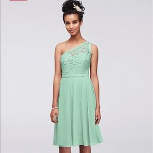 One shoulder mint green midi bridesmaid dress